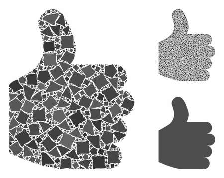 Thumb up mosaic of uneven pieces in variable sizes and shades, based on thumb up icon. Vector bumpy pieces are organized into collage. Thumb up icons collage with dotted pattern.