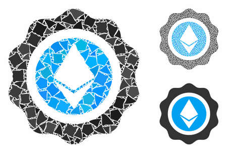 Ethereum seal composition of rough pieces in various sizes and color tones, based on Ethereum seal icon. Vector humpy elements are grouped into composition.