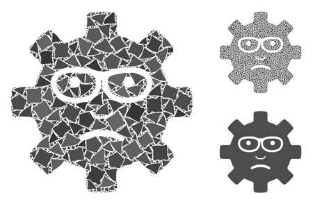 Service gear sad smile composition of bumpy pieces in variable sizes and shades, based on service gear sad smile icon. Vector bumpy dots are organized into composition.