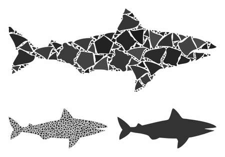 Shark mosaic of abrupt parts in variable sizes and shades, based on shark icon. Vector abrupt parts are grouped into collage. Shark icons collage with dotted pattern.