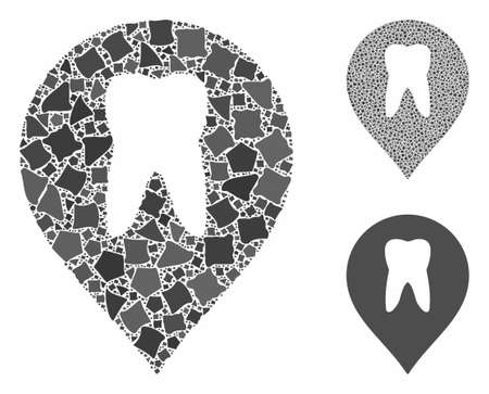 Stomatology marker mosaic of raggy pieces in different sizes and color tints, based on stomatology marker icon. Vector raggy elements are combined into composition. Illustration
