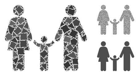 Family child mosaic of humpy pieces in variable sizes and color tints, based on family child icon. Vector joggly pieces are combined into collage. Family child icons collage with dotted pattern.