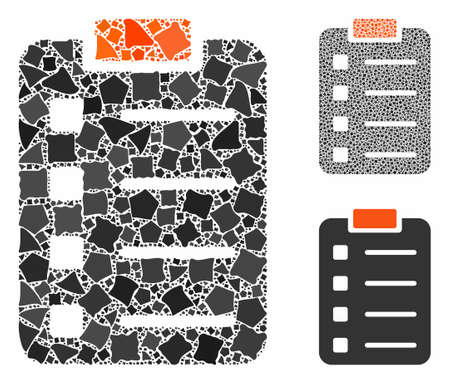 Pad form mosaic of irregular parts in various sizes and color tints, based on pad form icon. Vector ragged parts are organized into illustration. Pad form icons collage with dotted pattern.