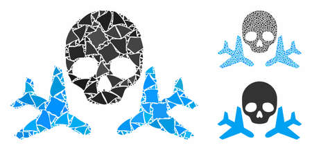 Mortal airplanes composition of rugged items in various sizes and color tints, based on mortal airplanes icon. Vector inequal items are organized into illustration.