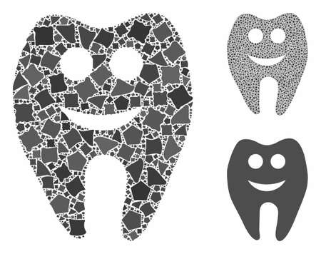 Happy tooth mosaic of rough parts in various sizes and color hues, based on happy tooth icon. Vector irregular parts are united into collage. Happy tooth icons collage with dotted pattern.