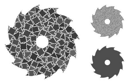 Circular saw mosaic of bumpy items in variable sizes and color hues, based on circular saw icon. Vector bumpy pieces are composed into mosaic. Circular saw icons collage with dotted pattern.  イラスト・ベクター素材
