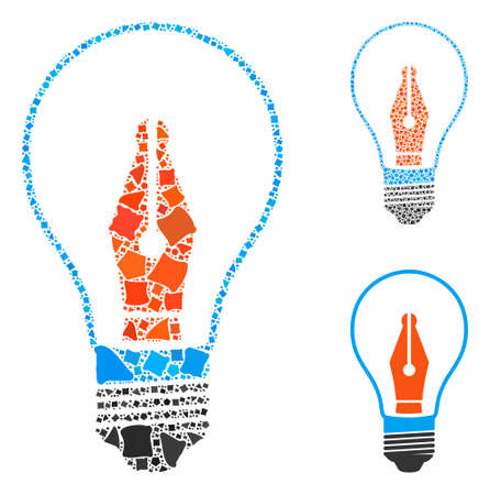 News maker bulb mosaic of tremulant elements in different sizes and color tinges, based on news maker bulb icon. Vector humpy elements are united into collage.
