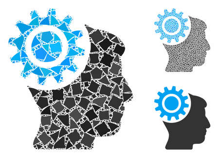 Brain gear composition of irregular parts in various sizes and color tints, based on brain gear icon. Vector irregular dots are organized into collage. Brain gear icons collage with dotted pattern.
