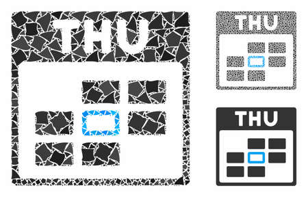 Thursday calendar grid composition of uneven pieces in different sizes and color tinges, based on Thursday calendar grid icon. Vector humpy pieces are organized into collage.
