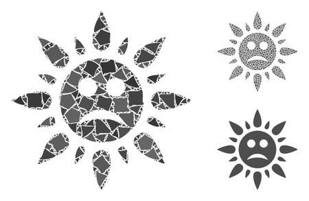 Sad sun light composition of tremulant items in different sizes and shades, based on sad sun light icon. Vector ragged items are united into illustration.