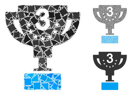 Third prize cup mosaic of uneven parts in variable sizes and color tinges, based on third prize cup icon. Vector tremulant parts are grouped into mosaic.