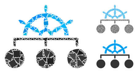 Mosaico de jerarquía de rueda de barco de piezas tremulantes en varios tamaños y tonos de color, basado en el icono de jerarquía de rueda de barco. Las piezas resistentes vectoriales se organizan en composición. Ilustración de vector