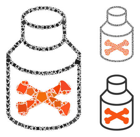 Poison bottle composition of abrupt items in different sizes and color tinges, based on poison bottle icon. Vector rough items are composed into collage. Illustration