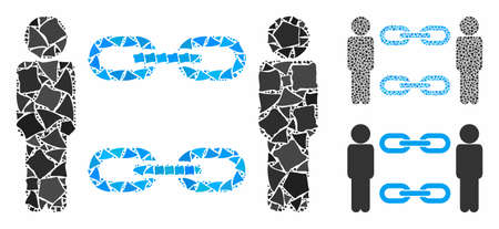 Men chains composition of tremulant parts in different sizes and shades, based on men chains icon. Vector tremulant parts are composed into composition. Men chains icons collage with dotted pattern. Illusztráció