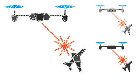 Laser drone attacks airplane composition of rugged parts in variable sizes and color tinges, based on laser drone attacks airplane icon. Vector tremulant parts are united into collage.