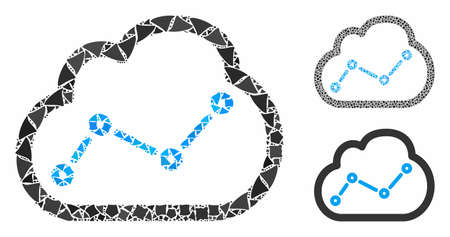 Chart cloud mosaic of rough pieces in variable sizes and color hues, based on chart cloud icon. Vector tuberous pieces are grouped into collage. Chart cloud icons collage with dotted pattern.