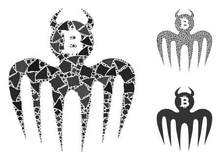 Bitcoin spectre devil mosaic of tuberous pieces in different sizes and color tints, based on Bitcoin spectre devil icon. Vector inequal pieces are organized into mosaic. Ilustração