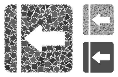 Hide menu left mosaic of abrupt items in different sizes and color hues, based on hide menu left icon. Vector abrupt pieces are composed into mosaic. Hide menu left icons collage with dotted pattern.