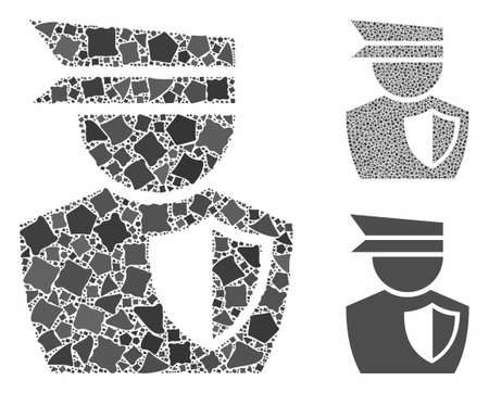 Police man composition of abrupt elements in different sizes and color tinges, based on police man icon. Vector raggy pieces are combined into composition. Illustration