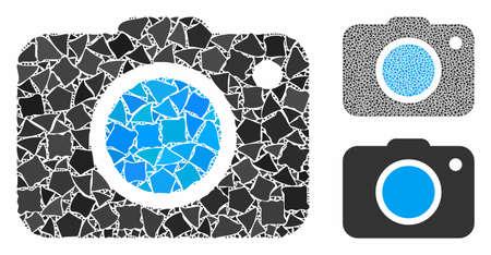 Composición de la cámara de fotos de elementos en bruto en tamaños y tonos de color variables, según el icono de la cámara de fotos. Los elementos vectoriales abruptos se organizan en forma de collage. Collage de iconos de cámara de fotos con patrón de puntos.