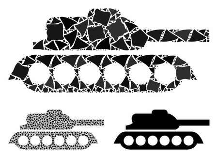 Military tank mosaic of abrupt elements in various sizes and color hues, based on military tank icon. Vector abrupt pieces are united into mosaic. Military tank icons collage with dotted pattern.