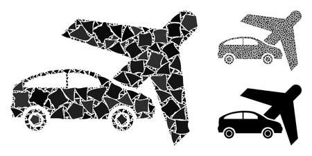 Transport composition of inequal pieces in various sizes and color tones, based on transport icon. Vector inequal items are composed into collage. Transport icons collage with dotted pattern. Illustration