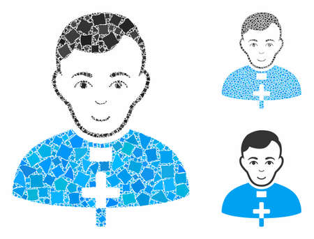 Catholic priest mosaic of ragged elements in different sizes and shades, based on catholic priest icon. Vector ragged items are composed into collage.