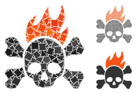 Death fire composition of tremulant pieces in variable sizes and shades, based on death fire icon. Vector irregular pieces are combined into composition. Death fire icons collage with dotted pattern. Illustration
