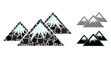 Icecap mountains mosaic of humpy pieces in various sizes and shades, based on icecap mountains icon. Vector humpy pieces are grouped into illustration.  イラスト・ベクター素材