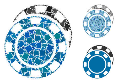 Casino chips mosaic of uneven parts in different sizes and shades, based on casino chips icon. Vector uneven pieces are combined into mosaic. Casino chips icons collage with dotted pattern.