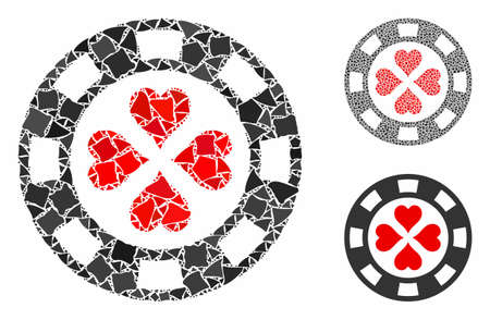 Poker casino chip composition of rugged parts in variable sizes and color tinges, based on poker casino chip icon. Vector inequal parts are composed into composition.
