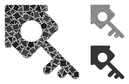 Realty access mosaic of trembly parts in variable sizes and color tints, based on realty access icon. Vector abrupt parts are grouped into collage. Realty access icons collage with dotted pattern.