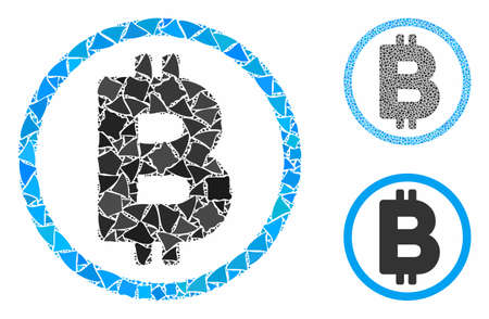 Bitcoin rounded composition of rough parts in various sizes and color tinges, based on Bitcoin rounded icon. Vector trembly parts are combined into collage. Reklamní fotografie - 133612449