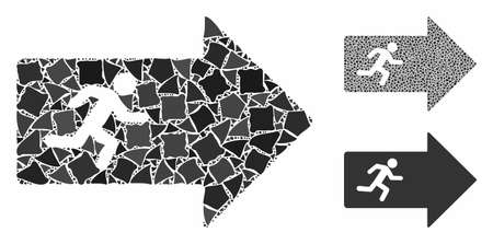 Exit arrow mosaic of tuberous pieces in various sizes and shades, based on exit arrow icon. Vector abrupt pieces are united into collage. Exit arrow icons collage with dotted pattern.