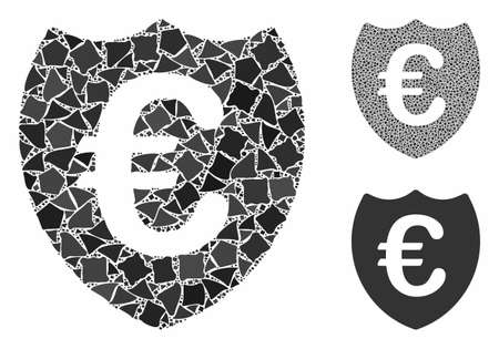 Euro shield composition of humpy elements in variable sizes and color tones, based on Euro shield icon. Vector uneven elements are united into collage. Euro shield icons collage with dotted pattern.