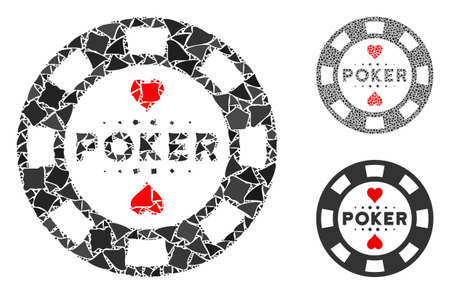 Poker casino chip composition of rugged elements in variable sizes and color tints, based on poker casino chip icon. Vector tremulant elements are united into collage.
