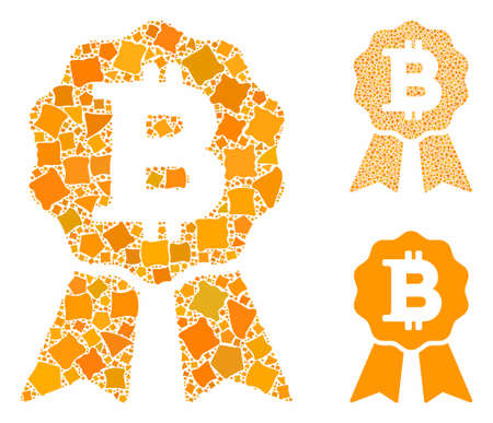 Bitcoin certificate seal composition of unequal elements in different sizes and color tones, based on Bitcoin certificate seal icon. Vector tremulant elements are united into collage. Illustration