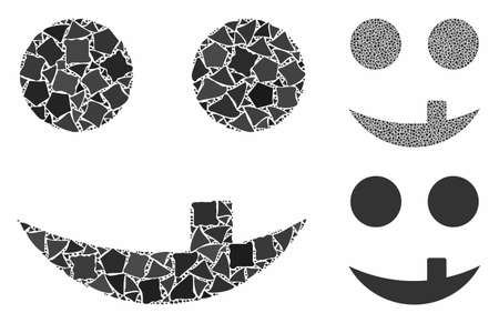 Tooth smiley mosaic of uneven elements in different sizes and color tinges, based on tooth smiley icon. Vector unequal elements are united into collage. Tooth smiley icons collage with dotted pattern. 向量圖像
