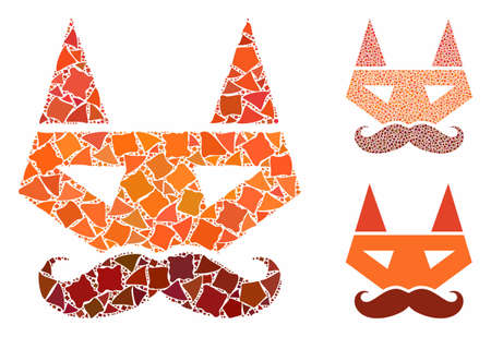 Getleman fox head mosaic of rugged items in various sizes and shades, based on getleman fox head icon. Vector ragged items are organized into illustration.