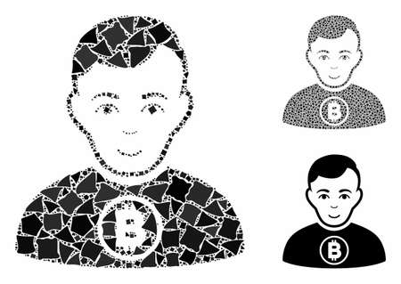 Bitcoin man mosaic of tremulant elements in various sizes and color hues, based on Bitcoin man icon. Vector tremulant elements are combined into collage. Bitcoin man icons collage with dotted pattern. Ilustração