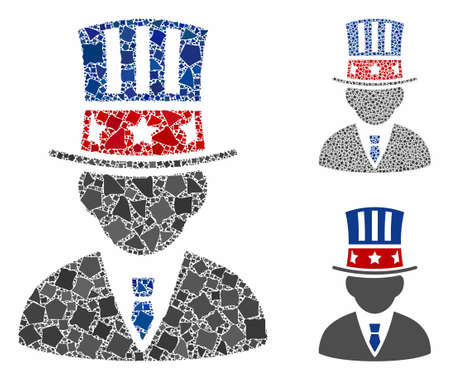 American capitalist composition of tremulant elements in various sizes and color tinges, based on American capitalist icon. Vector tremulant pieces are grouped into composition.