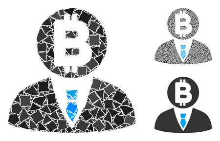 Bitcoin manager mosaic of raggy pieces in different sizes and color tinges, based on Bitcoin manager icon. Vector raggy pieces are united into collage.