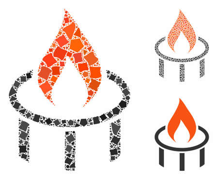 Burner nozzle flame mosaic of joggly elements in variable sizes and color tinges, based on burner nozzle flame icon. Vector joggly elements are organized into illustration.