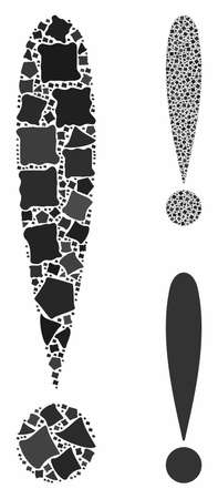 Exclamation sign mosaic of tremulant items in various sizes and shades, based on exclamation sign icon. Vector ragged items are grouped into mosaic. Exclamation sign icons collage with dotted pattern.