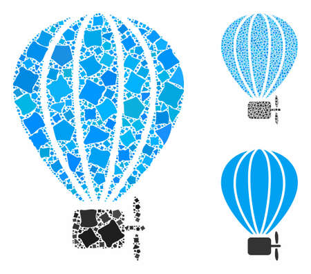 Air balloon mosaic of abrupt elements in various sizes and color tones, based on air balloon icon. Vector joggly elements are organized into mosaic. Air balloon icons collage with dotted pattern.