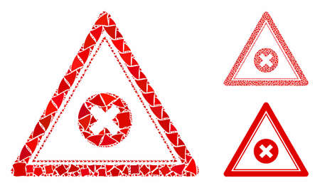 Cancel triangle composition of joggly pieces in various sizes and shades, based on cancel triangle icon. Vector unequal dots are composed into collage.