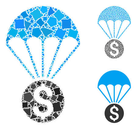 Financial parachute composition of tuberous parts in variable sizes and color tones, based on financial parachute icon. Vector trembly pieces are combined into collage.