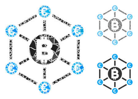Bitcoin Euro network mosaic of humpy parts in various sizes and color tinges, based on Bitcoin Euro network icon. Vector humpy pieces are composed into illustration.