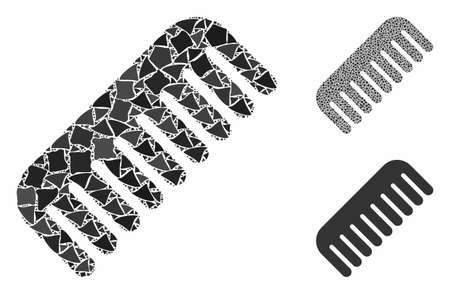 Comb mosaic of rugged parts in variable sizes and color tinges, based on comb icon. Vector inequal parts are combined into collage. Comb icons collage with dotted pattern. Ilustracja