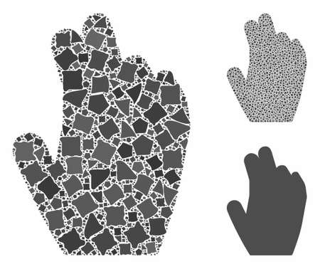 Manage hand mosaic of abrupt pieces in variable sizes and color tints, based on manage hand icon. Vector inequal pieces are organized into collage. Manage hand icons collage with dotted pattern.